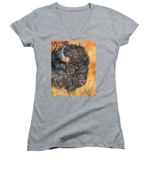 Bison Women's V-Neck T-Shirt (Junior Cut) by David Stribbling