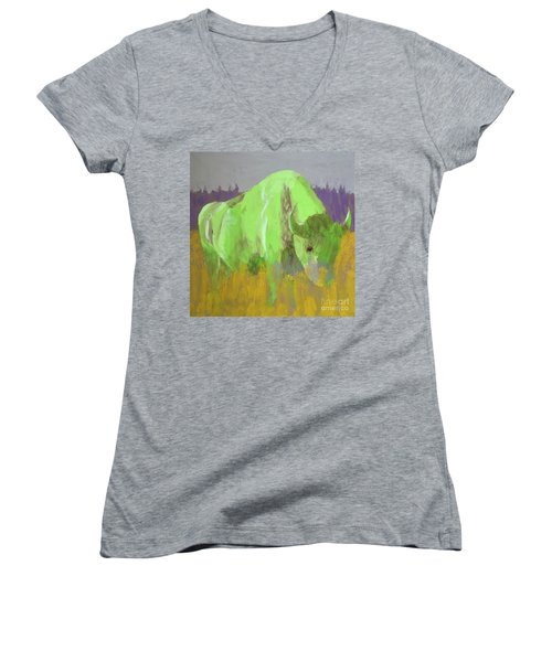 Bison On The American Plains Women's V-Neck T-Shirt (Junior Cut) by Donald J Ryker III