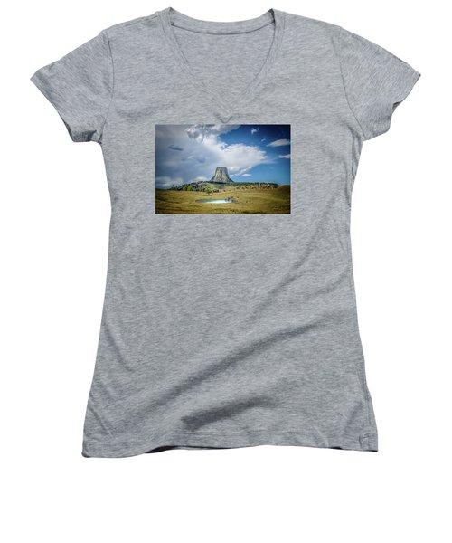Bison Pond Women's V-Neck T-Shirt (Junior Cut) by Mark Dunton