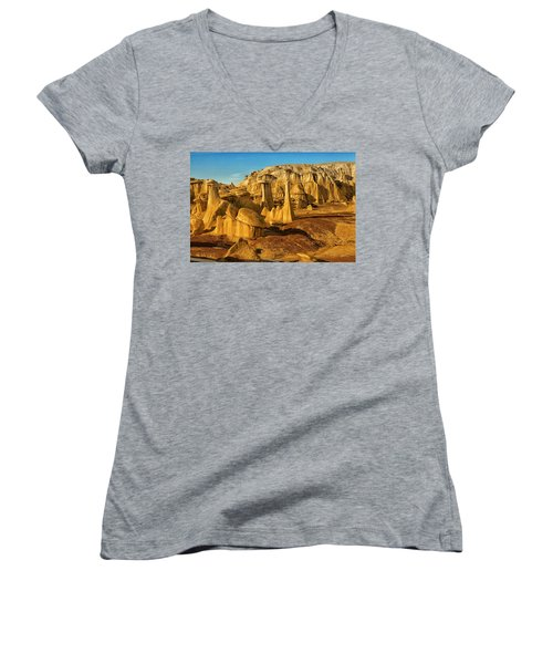 Bisti Badlands Fantasy Women's V-Neck T-Shirt (Junior Cut) by Alan Vance Ley