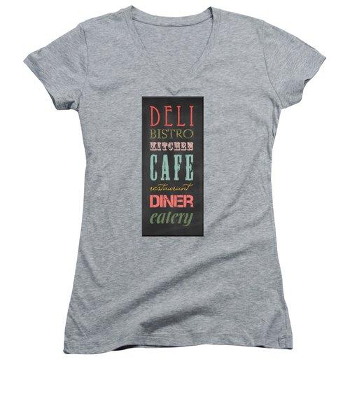 Bistro Cafe Sign Women's V-Neck T-Shirt