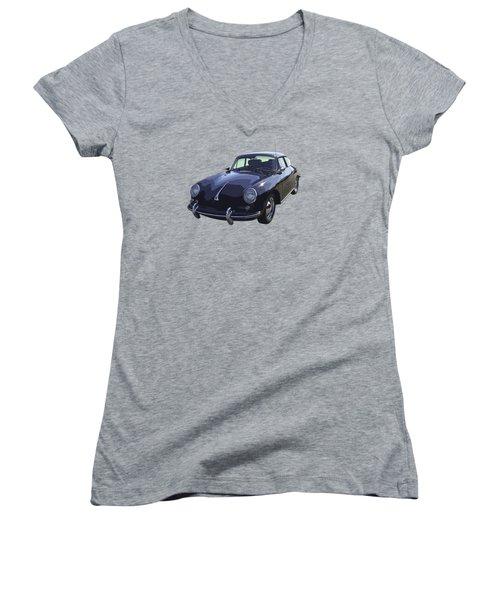 Black 1962 Porsche 356 E Sportscar  Women's V-Neck T-Shirt (Junior Cut) by Keith Webber Jr