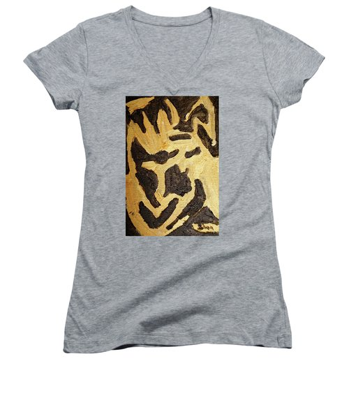 Women's V-Neck T-Shirt (Junior Cut) featuring the painting Black And Gold Mask by Shea Holliman