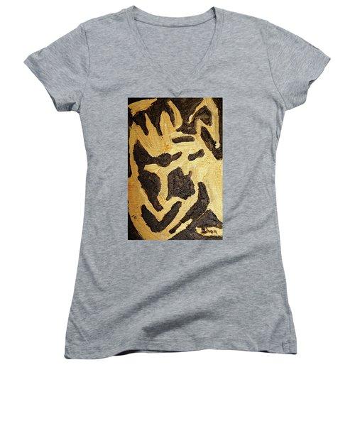 Black And Gold Mask Women's V-Neck (Athletic Fit)