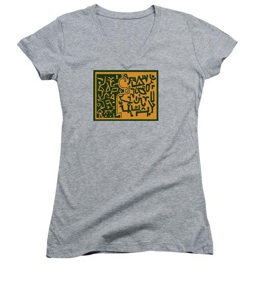 Women's V-Neck T-Shirt featuring the digital art Black And Orange Klee by Vagabond Folk Art - Virginia Vivier