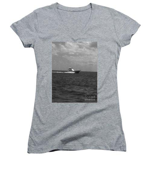 Black And White Boating Women's V-Neck T-Shirt (Junior Cut) by WaLdEmAr BoRrErO