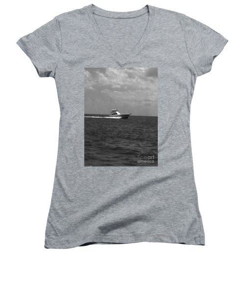 Black And White Boating Women's V-Neck T-Shirt