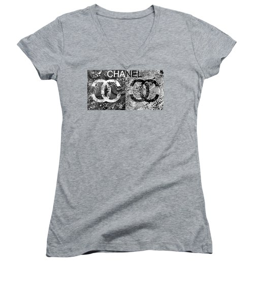 Women's V-Neck featuring the mixed media Black And White Chanel Art by Dan Sproul