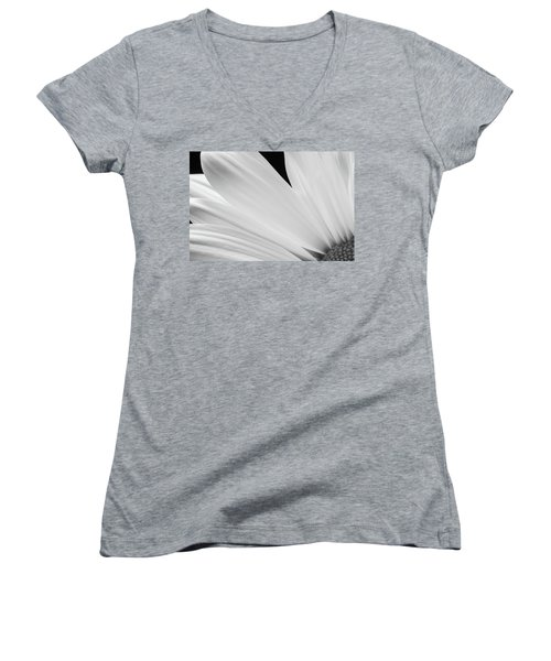 Black And White Daisy Flower Peeking Women's V-Neck T-Shirt