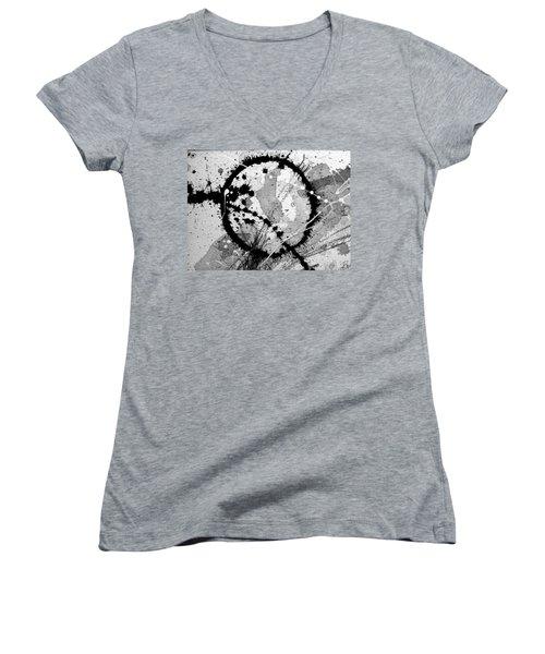 Black And White Five Women's V-Neck T-Shirt (Junior Cut) by Tracy Bonin