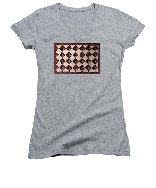 Black And White Checkered Floor Cloth Women's V-Neck T-Shirt (Junior Cut) by Judith Espinoza