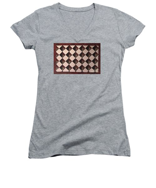Black And White Checkered Floor Cloth Women's V-Neck T-Shirt
