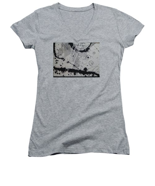 Black And White Four Women's V-Neck T-Shirt (Junior Cut) by Tracy Bonin
