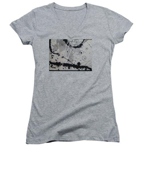 Black And White Four Women's V-Neck T-Shirt