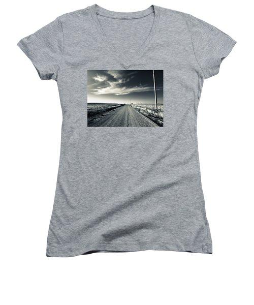 Black And White Gravel Women's V-Neck T-Shirt