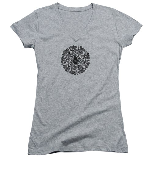 Women's V-Neck T-Shirt (Junior Cut) featuring the mixed media Black And White Hamsa Mandala- Art By Linda Woods by Linda Woods