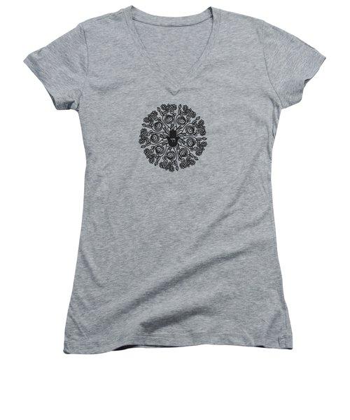 Black And White Hamsa Mandala- Art By Linda Woods Women's V-Neck