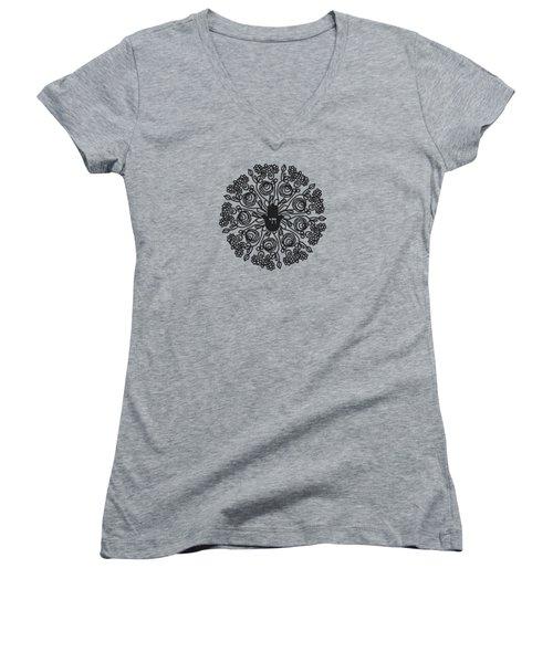 Black And White Hamsa Mandala- Art By Linda Woods Women's V-Neck (Athletic Fit)