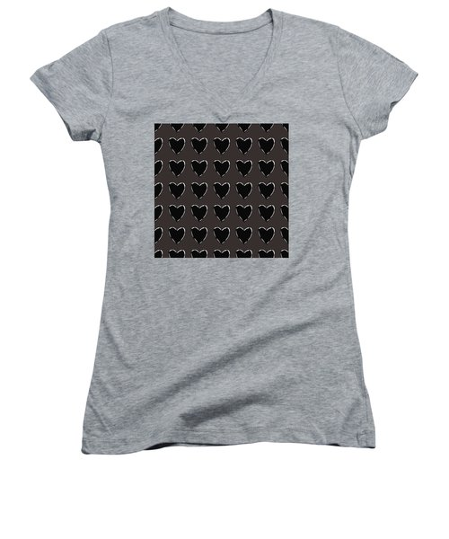 Women's V-Neck featuring the mixed media Black And White Hearts 1- Art By Linda Woods by Linda Woods