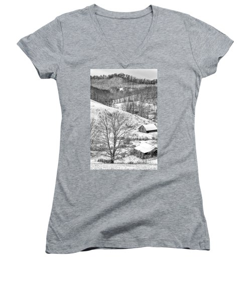 Black And White In Winter Women's V-Neck (Athletic Fit)