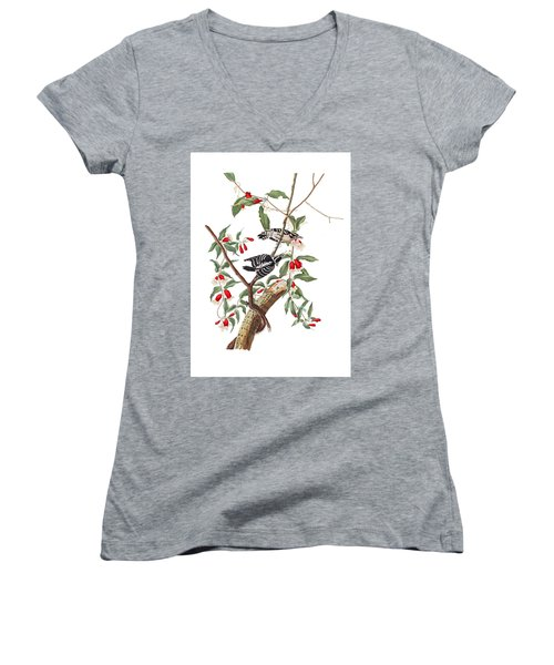 Women's V-Neck T-Shirt (Junior Cut) featuring the photograph Black And White by Munir Alawi