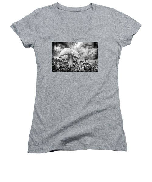 Black And White Mushroom. Women's V-Neck