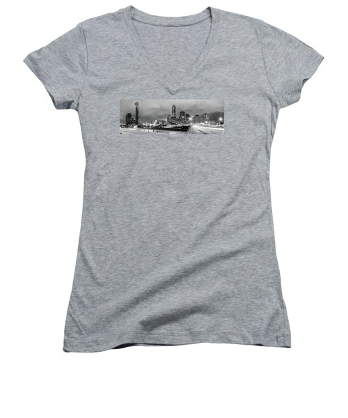 Black And White Panorama Of Downtown Dallas Skyline From South Houston Street - Dallas North Texas Women's V-Neck