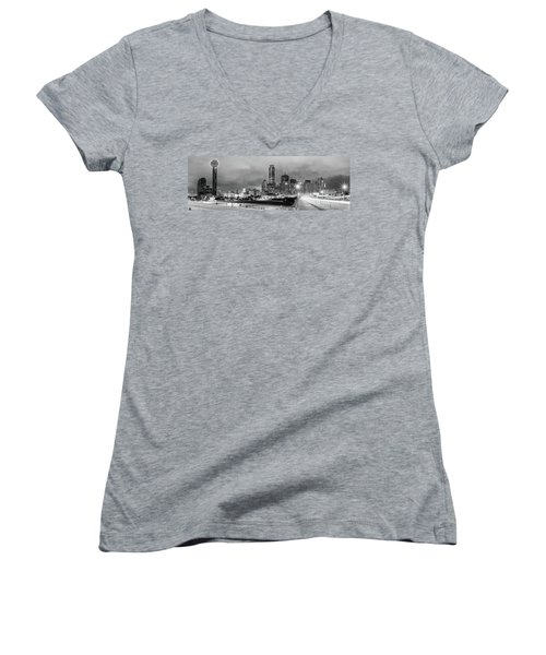 Black And White Panorama Of Downtown Dallas Skyline From South Houston Street - Dallas North Texas Women's V-Neck (Athletic Fit)
