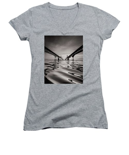Women's V-Neck T-Shirt (Junior Cut) featuring the photograph Black And White Reflections by Jennifer Casey