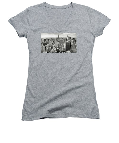 Women's V-Neck T-Shirt (Junior Cut) featuring the photograph Black And White Skyline by MGL Meiklejohn Graphics Licensing