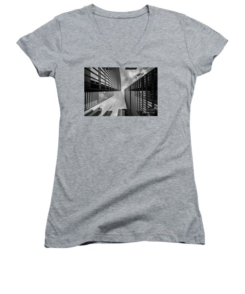 Women's V-Neck T-Shirt (Junior Cut) featuring the photograph Black And White Skyscraper by MGL Meiklejohn Graphics Licensing