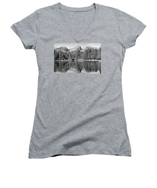 Women's V-Neck T-Shirt (Junior Cut) featuring the photograph Black And White Sprague Lake Reflection by Dan Sproul