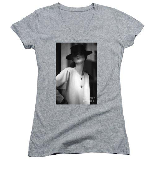 Black And White Women's V-Neck T-Shirt (Junior Cut) by Steven Macanka
