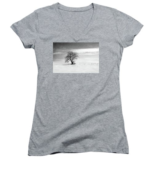 Black And White Tree In Winter Women's V-Neck T-Shirt (Junior Cut) by Brooke T Ryan
