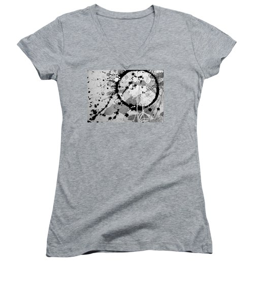 Black And White Two Women's V-Neck T-Shirt (Junior Cut) by Tracy Bonin