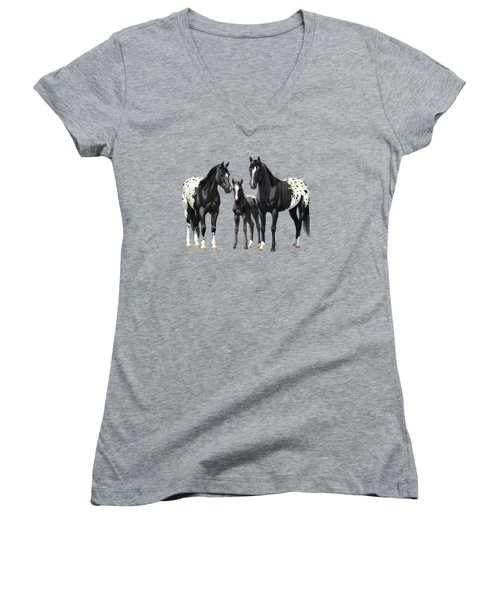 Black Appaloosa Horses In Winter Pasture Women's V-Neck (Athletic Fit)