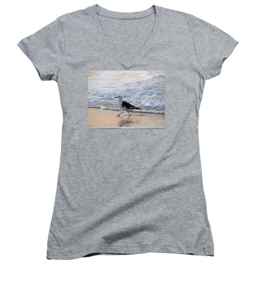 Women's V-Neck T-Shirt (Junior Cut) featuring the photograph Black-backed Gull by  Newwwman