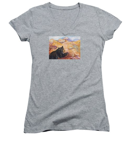 Black Bear Cub Women's V-Neck T-Shirt