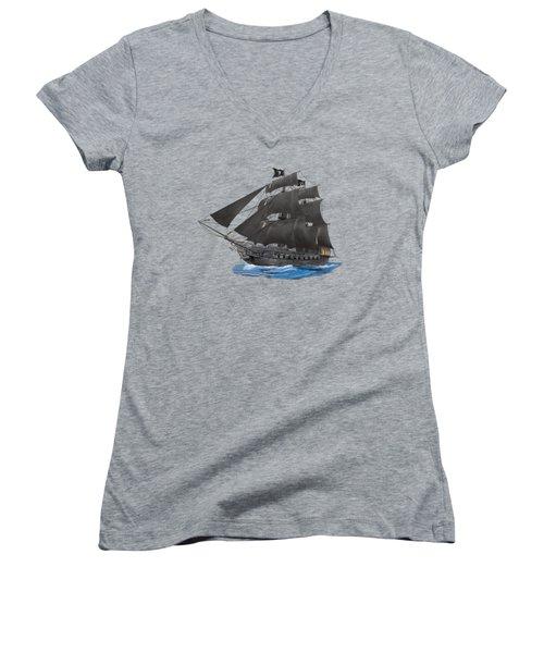 Black Beard's Pirate Ship Women's V-Neck T-Shirt