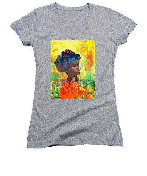 Black Beauty Women's V-Neck T-Shirt (Junior Cut) by Vannetta Ferguson