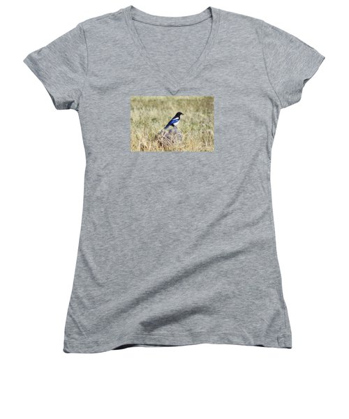 Women's V-Neck T-Shirt (Junior Cut) featuring the photograph Black-billed Magpie by Janie Johnson