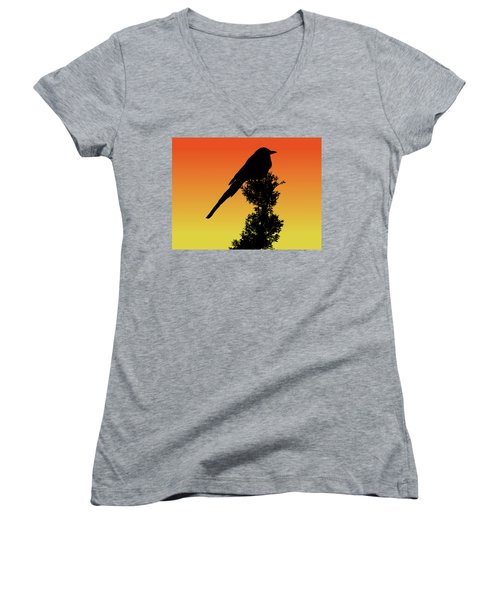 Black-billed Magpie Silhouette At Sunset Women's V-Neck (Athletic Fit)