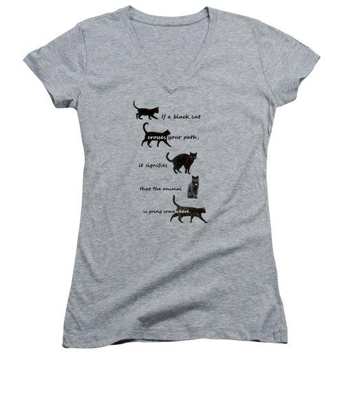 Black Cat Crossing Women's V-Neck T-Shirt