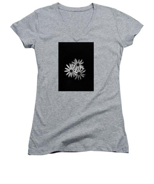 Black Eyed Susan's 1 Women's V-Neck T-Shirt (Junior Cut) by Simone Ochrym