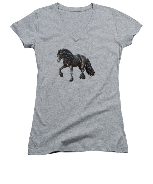 Black Friesian Horse In Snow Women's V-Neck T-Shirt (Junior Cut) by Crista Forest