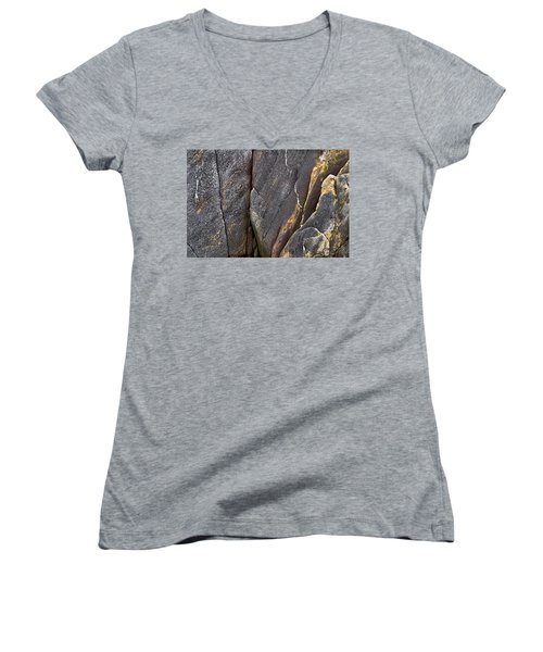 Black Granite Abstract Two Women's V-Neck T-Shirt (Junior Cut) by Peter J Sucy