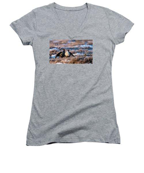 Black Grouses Women's V-Neck T-Shirt (Junior Cut) by Torbjorn Swenelius