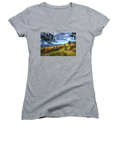 Black Hills Autumn Women's V-Neck T-Shirt (Junior Cut) by Fiskr Larsen