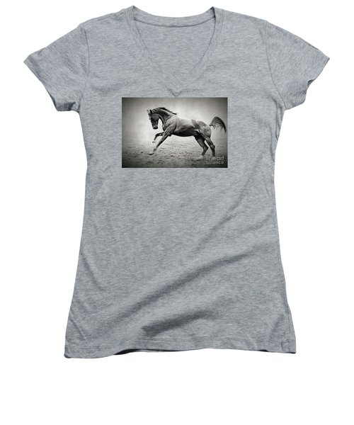 Black Horse In Dust Women's V-Neck (Athletic Fit)