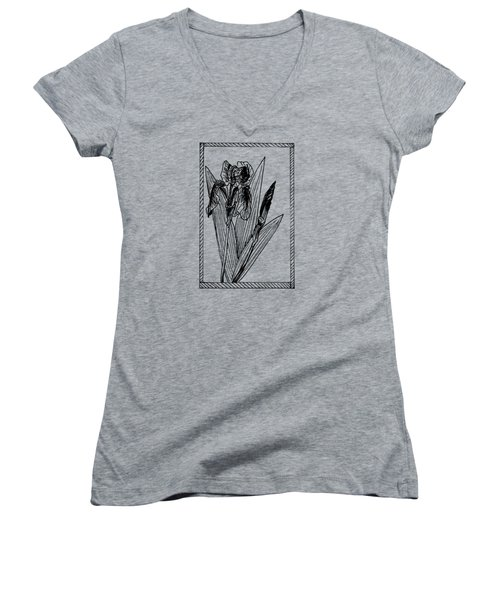 Black Iris On Transparent Background Women's V-Neck T-Shirt